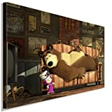 Mascha und der Bär Doktor Leinwandbild LaraArt Studio Wanddeko Wandbild 60 x 40 cm
