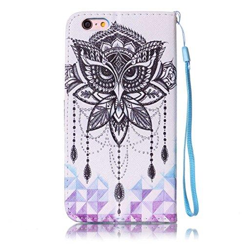 Etsue Handytasche für iPhone 6S/iPhone 6 (4.7 Zoll) lila, Brieftasche Hülle für iPhone 6S/iPhone 6 (4.7 Zoll) [Mädchen Schmetterling] Muster Lederhülle Handyhülle Einzigartig Flip Hülle Leder Schutzhü Eule Augen