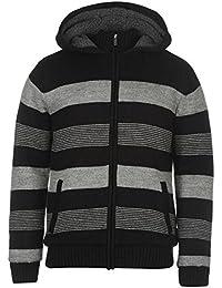 Lee Cooper Knitted Striped Zip Jumper gris et noir