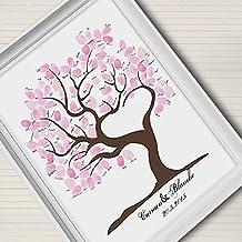 Lienzo de huellas en forma de corazón árbol árbol árbol de boda regalo de bodas Decoración de la boda fiesta regalo boda nombre (incluye 12colores de tinta), 35x50cm
