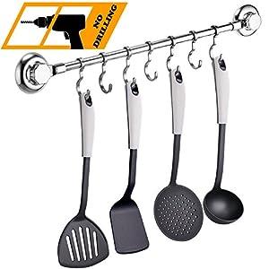 MaxHold Saugschraube Küchenhelfer Hängeleiste 7 Haken, Befestigen ohne Bohren - Edelstahl rostfre - Küchen & Badezimmer Aufbewahrung
