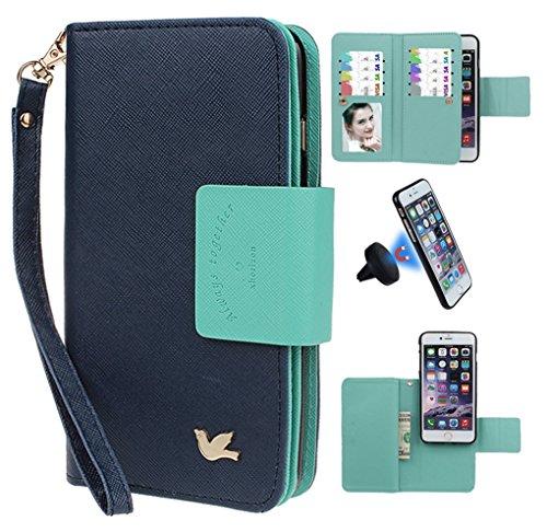 xhorizon FX Prämie Leder Folio Case [Brieftasche] [Magnetisch abnehmbar] Uhrarmband Geldbeutel Flip Mehrere Einbauschlitzen Vogel Tasche Hülle für 5.5 Zoll iPhone 6 6s Plus Marineblau mit Schwarz Auto Einfassung Halter