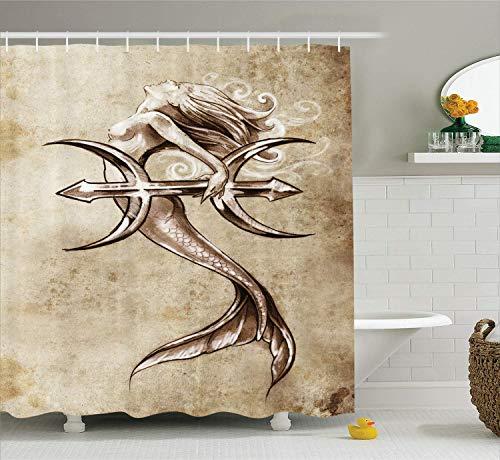 HYJDZKJY Meerjungfrau Duschvorhang Vintage Meerjungfrau im Meer mit einem Anker mythische aquatische Kreatur Grafik Stoff Stoff Badezimmer Dekor Set mit Haken (Duschvorhang Meerjungfrau Vintage)