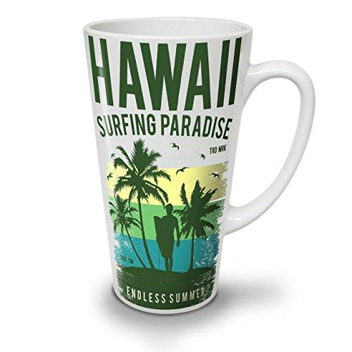 Wellcoda Hawaii Surfen Paradies Weiß Keramisch Latte Becher 17 oz