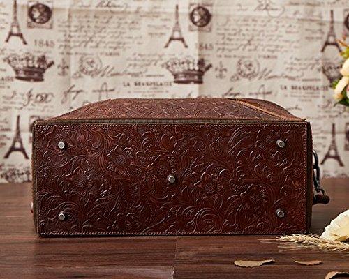Otomoll Handgefertigte Ledertaschen Leder Handtasche Sammlung Retro Tasche Schulter Diagonal 8320 coffee color