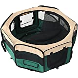 EchoAcc® Fabric Portable Pet Play Pen Kitten Dog Playpen for Puppies, Rabbits and Other Pets- Small, Green