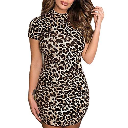 3d43000a61d4 waitFOR Vestiti Donna Estate Corti Sexy Leopardato Manica Corta Abito Donna  Eleganti da Cerimonia Hot Casual