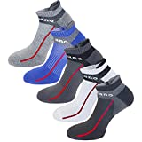 Aaronano 5 Pairs Men Half Cushioned Terry Athletic Running Ankle Socks Size(5.5-11 UK/38-46 EU)