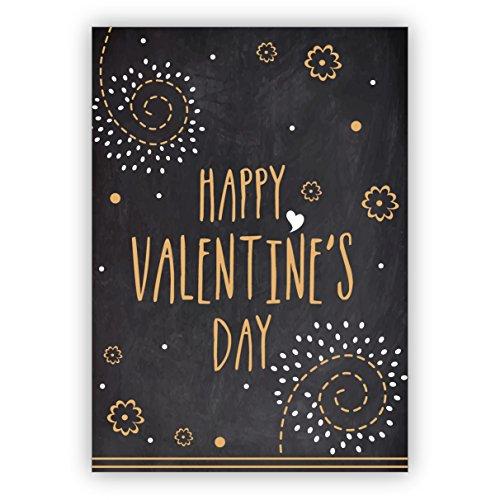 Conjunto de 5: Tarjeta de amor retro, tarjeta de San Valentín en pizarra óptica, tarjeta de felicitación de alta calidad con sobre: Happy Valentine's day