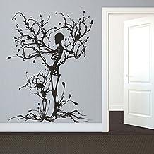Vinilo decorativo de pared, diseño de árbol de la vida de árbol de mairgwall gráficos Esqueleto adhesivo dormitorio vinilo (XL, personalizado)