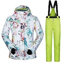 5b366a61535bf9 iBaste Schneeanzug Damen Skianzug 2tlg Skijacke mit Kapuze+Skihose  Outdoorjacke Damen Regenjacke Hardshell Jacke Wasserdicht