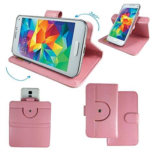 ZTE Grand Memo LTE Smartphone Tasche / Schutzhülle mit 360° Dreh und Standfunktion - 360 Rosa Nano XL