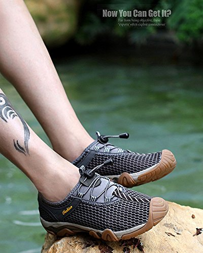 Moollyfox Homme De Plein Air Sports Pure Color Engrener Randonnée Respirant Sneaker Gris