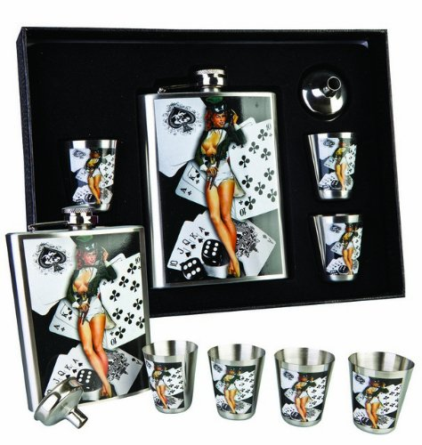sexy-burlesque-redhead-lady-cards-metal-hip-flask-set-with-4-shot-tot-cups-in-gift-box