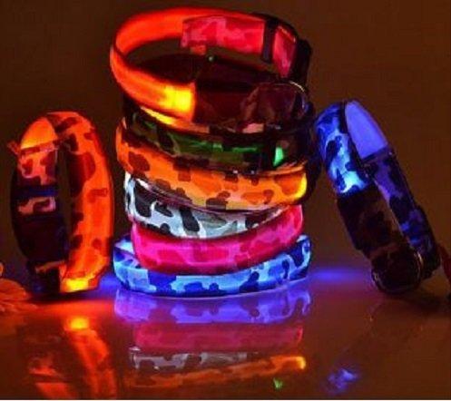LED Hunde Leuchthalsband in 7 Farben Hund Halsband Katze leuchtet Licht Blinki 5 Größen XS S M L XL (L, Grün) - 2