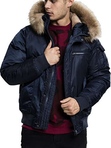 Urban Classics Herren Bomber Jacke Hooded Heavy Fake Fur Jacket, Blau (Navy 155), Medium