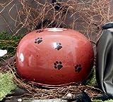 Kugelurne aus Keramik, Karminrot gesprenkelt mit schw. Pfötchenspuren, Vol. ca. 2,00 Ltr.