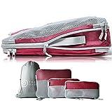 TRAVEL DUDE Packwürfel Set mit Kompression | Packing Cubes | Packtaschen Set & Gepäck Organizer für Rucksack & Koffer | Extra leichte Kleidertaschen | Weinrot, 4-teilig