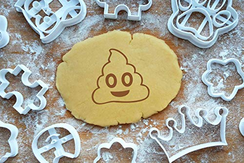 Emoji Poop Ausstechform 4cm Präge-Ausstecher Kackhaufen Smiley 3D Keksausstecher Cookie Cutter Backen Fondant Plätzchen (Cookies Poop)