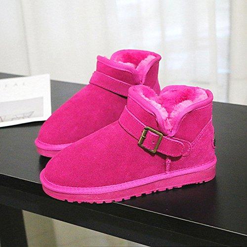 SQIAO-X- A corto di Winter Snow Boots versione coreana della fibbia, Cilindretto corto in pelle resistente di slittamento bella Signora pane piatto scarpe scarpe di cotone Sabbia