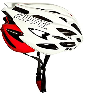 AWE® AWESpeed™ FREE 5 YEAR CRASH REPLACEMENT* In Mould Adult Mens Road Racing Cycling Helmet 56-58cm White/Red from AWE®