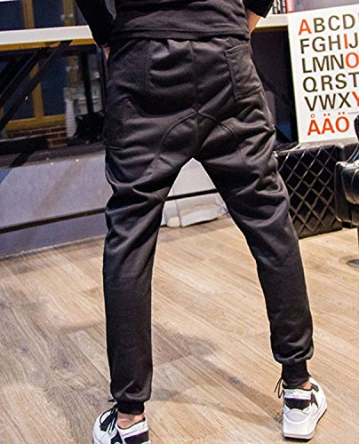 Minetom Hommes Désinvolte Danse Pantalon Hiphop Baggy Sport Jogging Sarouel Pants Noir