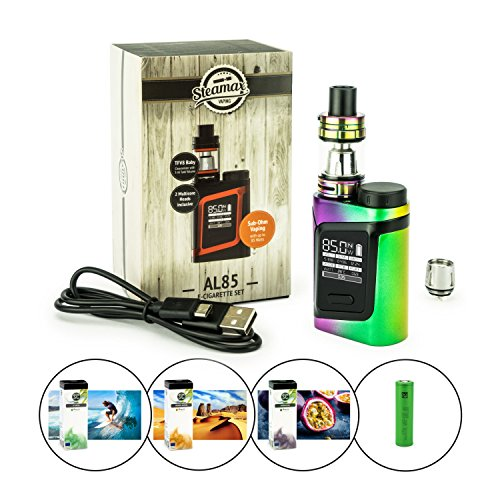 Steamax/Smok AL85 Kit+TVF8 Baby+3120 mAh Akku + 3 x 10 ml SC-Liquid (nikotinfrei), E-Zigarette/Shisha (regenbogen)
