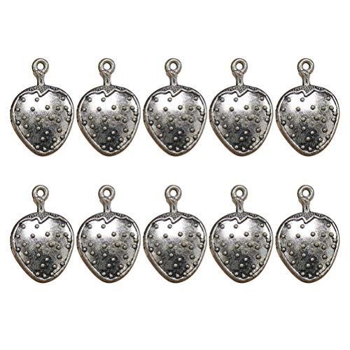 FENICAL 20 stücke Legierung Erdbeere Anhänger Charme DIY Halskette Armband Schmuck Machen Zubehör (Antik Silber)