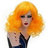 Femmes Short Curly perruque, pergrate dames sexy Wave haute température cosplay de couleur pleine perruque cheveux synthétiques avec frange oblique (I)