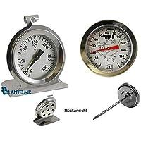 Lantelme 2857 Set sito (carne) e forno termometro/acciaio inox bimetallico analogico. Forno Termometro fino a 300 °C. Termometro sonda 115 °C