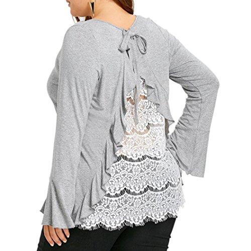 Frauen Tops,Hffan Damen Sexy Lace Langarm Bluse Elegant Zurück Spitze Blumen T-Shirt Sommer Groß Größe Strand Oberteil Shirts Tops Langarmshirt Hemd Pullover Sweatshirt Blusen