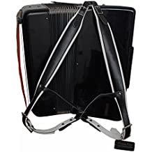 Musik First, schwarz & weiß echt Leder Super breit dick bequem 96Set Akkordeon Gurt Akkordeon 120Bass Akkordeon Schulterriemen