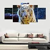 Wiwhy Modulare Bild Große Leinwand 5 Panel Tier Tiger Gedruckt Malerei Für Schlafzimmer Wohnzimmer Home Wall Art Decor-20X35/45/55Cm,With Frame