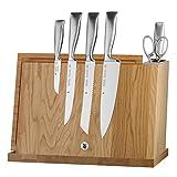 WMF Grand Gourmet, Messerblock mit Messerset, 8-teilig, 5 Messer geschmiedet, Performance Cut, 1 Block magnetisch aus Eichenholz, 1 Schere und 1 Wetzstahl