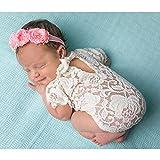 Baby Infant Foto Requisiten Outfits–Süße Weiß Spitze Strampler Mini Cheongsam mit Haarband Neugeborene Baby Mädchen Kostüm Foto Fotografie Prop Outfits Geschenk