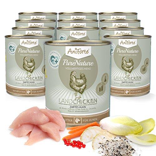 AniForte® PureNature Nassfutter 800g Land Chicken Hundefutter- Naturprodukt für Hunde (Zartes Huhn, 12x800g)