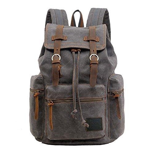 Yimidear Canvas Rucksack Vintage Rucksack Schulrucksack Retro Rucksack Daypack Backpack Lederrucksack Wanderrucksack Reisetasche Laptoprucksack für Herren Damen Jungen Mädchen