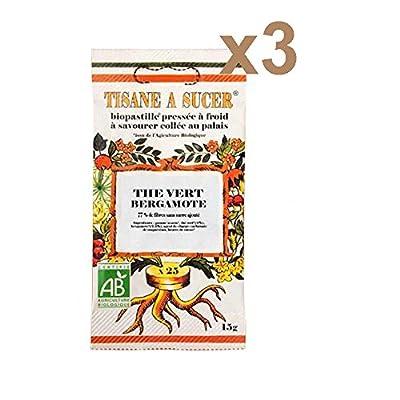 Tisane à Sucer Bio Thé Vert Bergamote 75 pastilles : lot de 3 paquets de 25 pastilles