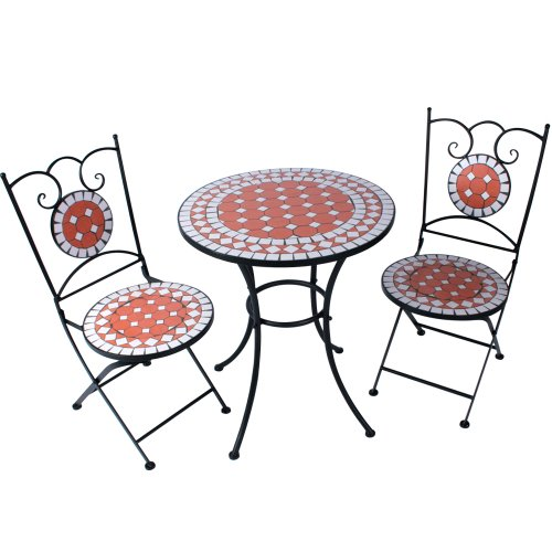 Jago Mosaic Bistro Set - Garden Table with Chairs Outdoor Dining Furniture