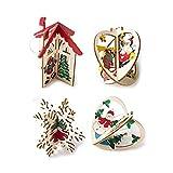 belupai 4 Stück hängende Weihnachtsbaum-Holz-Ornamente Stern-Puzzle, Spielzeug, Baum, Fenster, Weihnachtsmann, Schneemann, Haus, Schneeflocke, Anhänger Banner Weihnachten Dekoration Jahr Geschenk