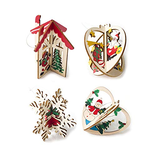 belupai 4 Piezas Colgante árbol de Navidad Adornos de Madera Estrella Puzzle Juguetes árbol Ventana Santa Claus Snowman casa Copo de Nieve Colgante Banner Navidad Decor Año Regalo