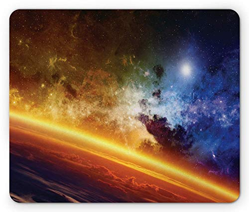 Outer Space Mouse Pad, Colorful Planet Nebula and Stars in Space Atmosphere Mystical Universe, Standard Size Rectangle Non-Slip Rubber Mousepad, Orange Yellow Blue - Mädchen Standard Star
