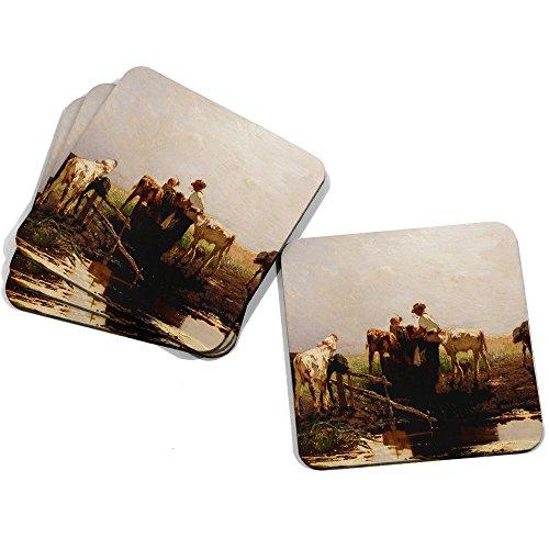 "Image of Big Box Art ""Willem Maris Calves At A Trough"" Coasters, Multi-Colour, 9 x 9 cm, Set of 4"