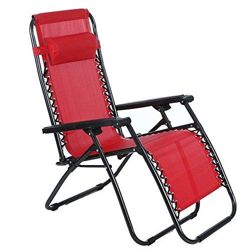 Relaxliege Garten, Sondereu Faltbarer Schwerloser Recycling Lounge Gartenstuhl Liegestuhl mit Kopfkissen für Camping und Strand, 4 Typen zur Auswahl (Rot)