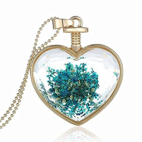 Parfum de charme flottant souhaitant bouteille Pendentif en verre Collier en chaîne Collier pendentif en coeur N008-07