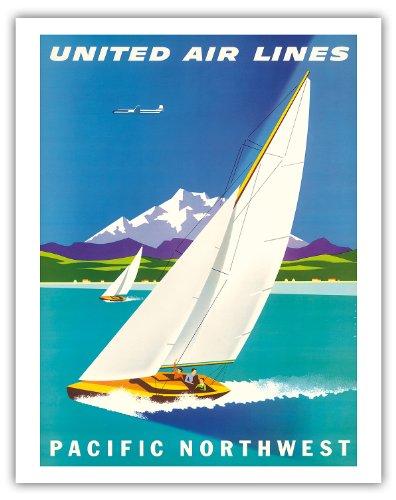 Pacific Northwest-United Air Lines-Segelboote und Schnee Kappe Gletscher Berge-Vintage Airline Travel Poster von Joseph Binder c.1960s-Fine Art Print 11