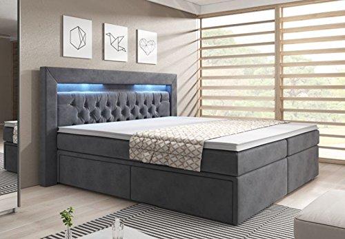 wohnenluxus Boxspringbett York Box / 180×200 / grau/Bettkastenschublade/Hotelbett