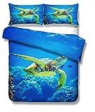 DCWE 3D Ozean Tier Bettwäsche Set Turtle 2/3 teiliges Set Blau Meer Buntes Drucken Schildkröte Fisch Koralle Bettbezug und Kopfkissenbezug, (Turtle 5, 200 * 200CM)