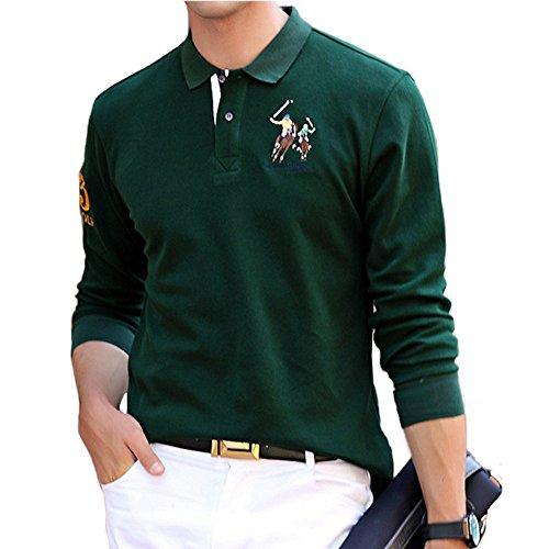 BicRad Herren Polo Shirts Slim Baumwolle Langarmshirts Business Freizeit Dunkelgrün