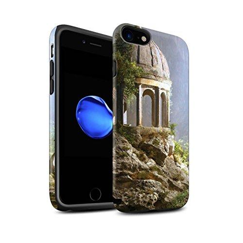 Officiel Elena Dudina Coque / Matte Robuste Antichoc Etui pour Apple iPhone 8 / Vallée des Dragons Design / Fantaisie Paysage Collection Oublié Temple